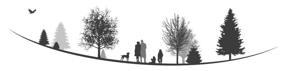 Winterliche Landschaft | Junge Familie im Park