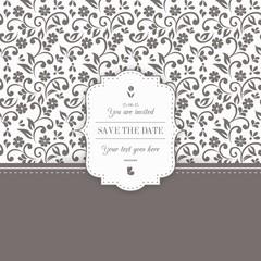 Ornamental floral wedding invitation