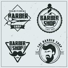 Vintage flat barber shop logos