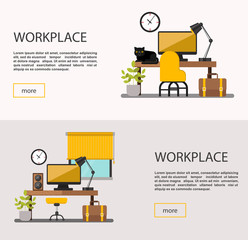 Workplace, workspace. Interior design room.Vector flat banners set.