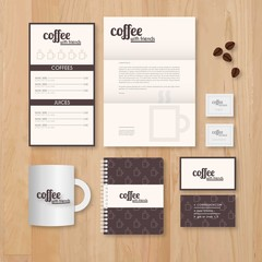 Coffee shop stationery template