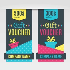 Colorful gift voucher pack