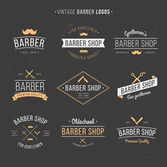 Hand drawn vintage barber logos