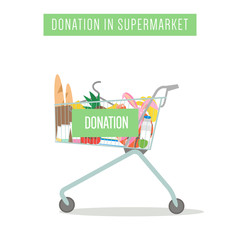 Cart with donation in supermarket isolated on white. Vector Illustration