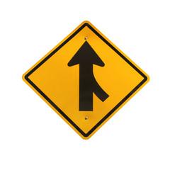 Lanes merging right traffic sign