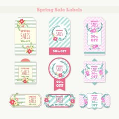 Lovely flowers and stripes spring sales labels