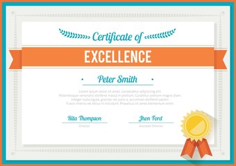 Flat certificate template with orange ribbon