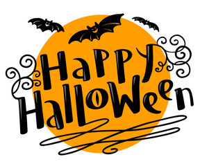 Happy Halloween lettering coposition with bats silhouette