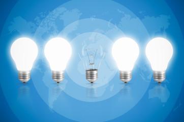 Energy saving with light bulb.