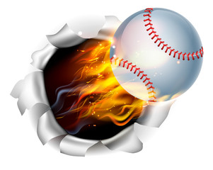 Flaming Baseball Ball Tearing a Hole in the Background