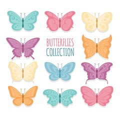 Hand drawn beautiful butterflies set