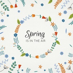 Hand drawn floral wreath in springtime