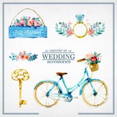 Watercolor cute wedding accesories