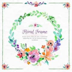 Watercolor colors flowers wreath