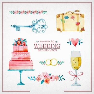 Watercolor cute wedding elements