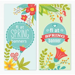 Beautiful spring banners with floral decoration