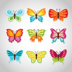 Colorful decorative butterflies set