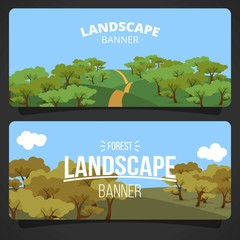 Hand drawn landscape with trees banners