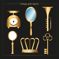 Vintage golden accessories pack