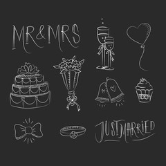 Hand drawn wedding elements in blackboard style