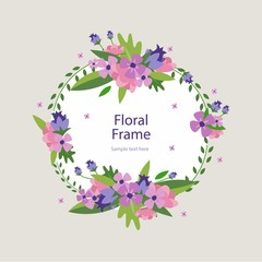 Hand drawn decorative floral banner