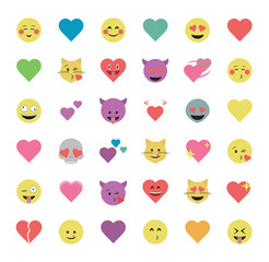 Set of  love  emoticon vector isolated on white background. Emoji vector. Smile icon set.