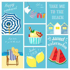 Hand drawn summer cards collection. Vector illustrations for graphic and web design, for summer vacation, beach party, greeting cards, enjoying the sun and sea