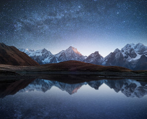 Poster Mountains Night landscape with a mountain lake and a starry sky