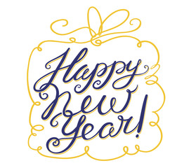 Happy New Year lettering with gift box