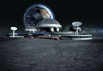 futuristic city, base, town on moon. The space view of the planet earth. expedition. 3d rendering