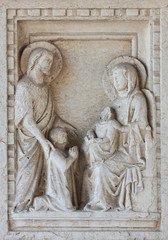 Detail on tomb in Basilica in Aquileia