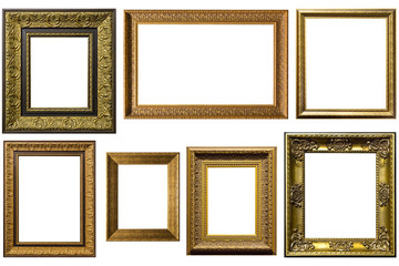 gold picture frames. Isolated over white background