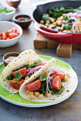 Vegan breakfast tacos with kale and chickpeas