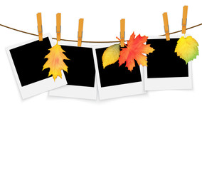 Photo frames on rope with clothespins and autumn leaves vector