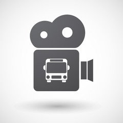 Isolated retro cinema camera icon with  a bus icon
