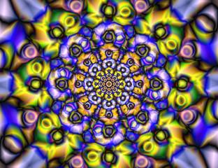 Abstract colorful kaleidoscope. Circle mandala ornament. Vector graphic design.