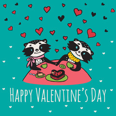 Valentines Day card with illustrated raccoon couple