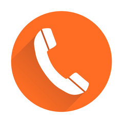 Phone icon in flat style. Vector illustration on round orange background with shadow.