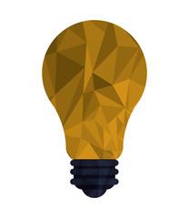 flat design regular lightbulb with polygon texture icon vector illustration