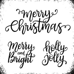 Christmas calligraphy phrases. Merry Christmas. Merry and Bright. Holly Jolly. Handwritten modern lettering. Hand drawn design elements.