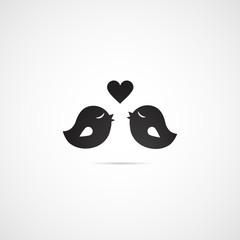 Love birds vector icon.