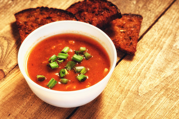 Goulash soup and sliced bread