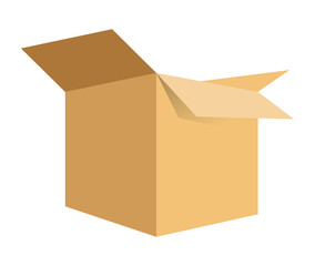 carton box package open delivery shipping logistic icon. Isolated and Brown illustration. Vector graphic