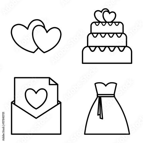 heart envelope cake bag wedding marriage icon. Isolated and flat ...