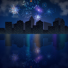 Night city skyline with river and fireworks