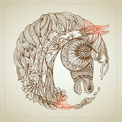 Hand drawn Ornamental Tattoo Horse Head. Highly Detailed Abstract Isolated.