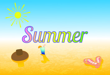 Vector illustration summer, beach summer accessories