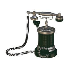 Retro style phone 3d illustration