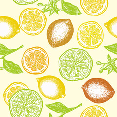 Citrus seamless pattern lemons and oranges vintage citrus