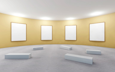 Gallery Studio and picture frame contemporary Yellow wall on Background
